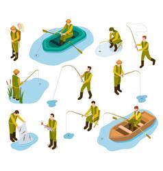 fisherman isometric fishing in river pond sea vector image