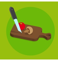 Fresh Food Menu With Tomato and Knife With Green vector image