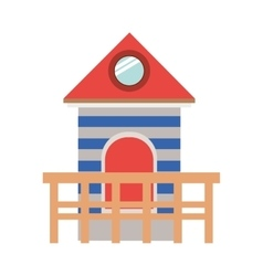 Full color with lifeguard stand tower vector