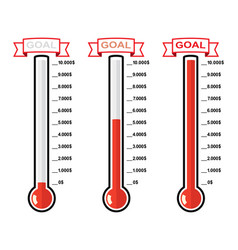 Goal thermometers at different levels vector