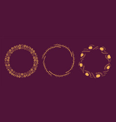 Gold easter frames set vector