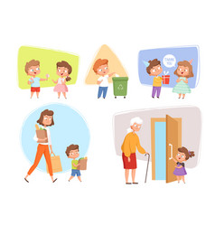 good manners perfect behaving kids obedient vector image