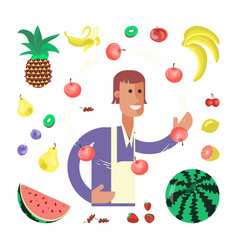 greengrocery seller character vector image