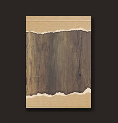 Grunge paper on wooden wall design vector