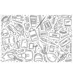 Hand drawn branding set doodle background vector