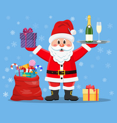 happy santa claus with presents vector image