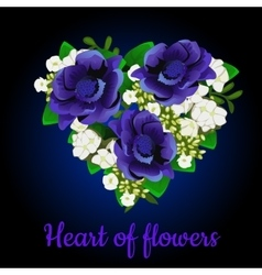 heart made blue flowers and apple flowers vector image