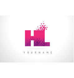 Hl h l letter logo with pink purple color and vector