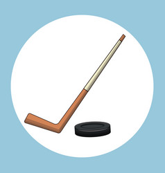 Hockey puck stick symbol vector