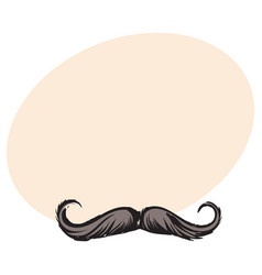 human hipster curled up mustache decoration vector image
