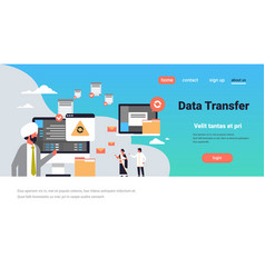 Indian people working data transfer concept vector