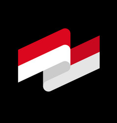 indonesia flag ribbon isolated indonesian tape vector image