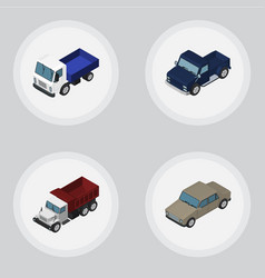 isometric automobile set of lorry suv auto and vector image