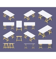Isometric work tables vector image