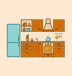 Kitchen furniture drawn in a linear flat style vector