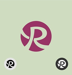Letter R round logo vector image