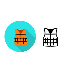 life jacket icon in flat style art vector image