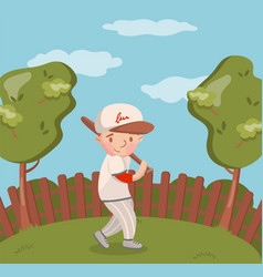 little boy in white uniform playing baseball on vector image