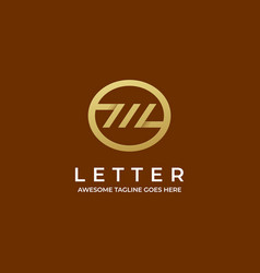logo abstract letter with circle line art vector image
