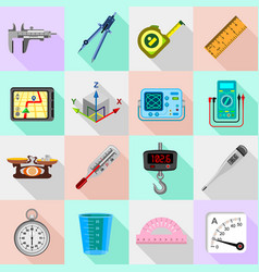 measure precision icons set flat style vector image