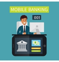 Mobile banking customer service vector