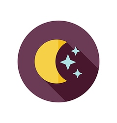 Moon and stars flat icon Meteorology Weather vector