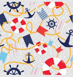 nautical seamless pattern sea marine vector image