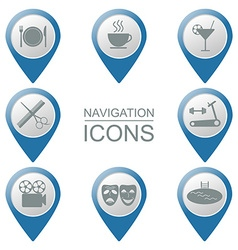 Navigation icons Silhouette Public institutions vector