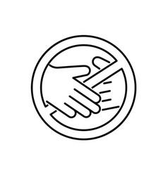No touch emblem contactless delivery icon linear vector