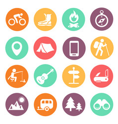 outdoor traveling icons tourism hiking vector image