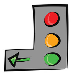 Painting vertical green traffic signal vector