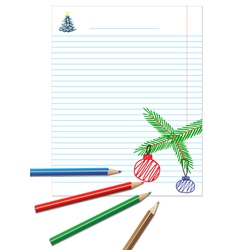 Paper note with colored pencils vector image