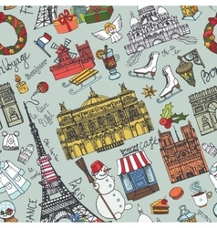 paris winterdoodle landmarks seamless pattern vector image