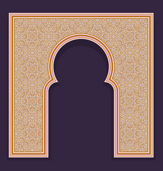 Patterned arched frame in oriental traditional vector