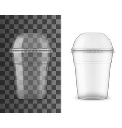 plastic cup with sphere dome cap for cold drinks vector image
