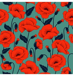 Poppy seamless pattern vector