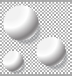 realistic three white balls isolated vector image