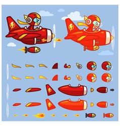 Red Thunder Plane Game Sprites vector