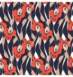 retro floral print vector image