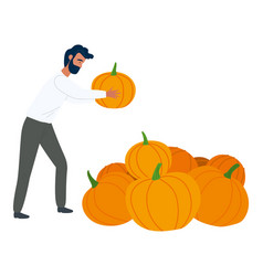 Rustic product man with pumpkin food vector