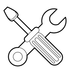 Screwdriver and wrench icon outline style vector image