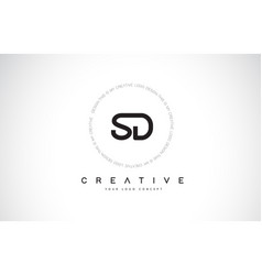 Sd s d logo design with black and white creative vector