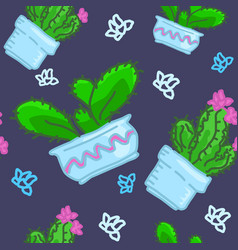seamless pattern of drawn cactus in pots vector image