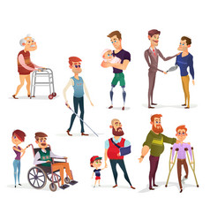 set of cartoon of people with vector image