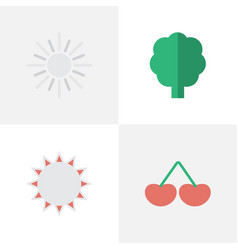 set of simple gardening icons vector image