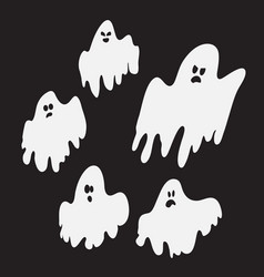 set scared spooky and cute ghosts halloween vector image
