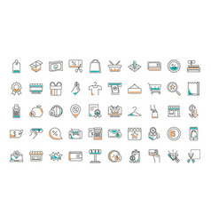 shopping line style icon set design vector image