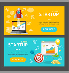 startup banner horizontal set vector image
