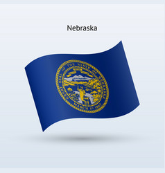 State of nebraska flag waving form vector