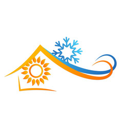 Sun and snowflake in house abstract vector